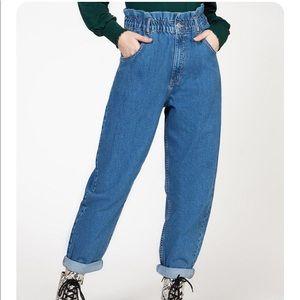 Dex paper bag mom Jeans blue high waisted